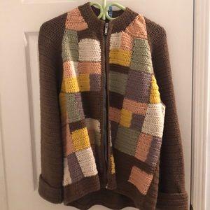 Vintage Hand knit Crochet Sweater Jacket Zip